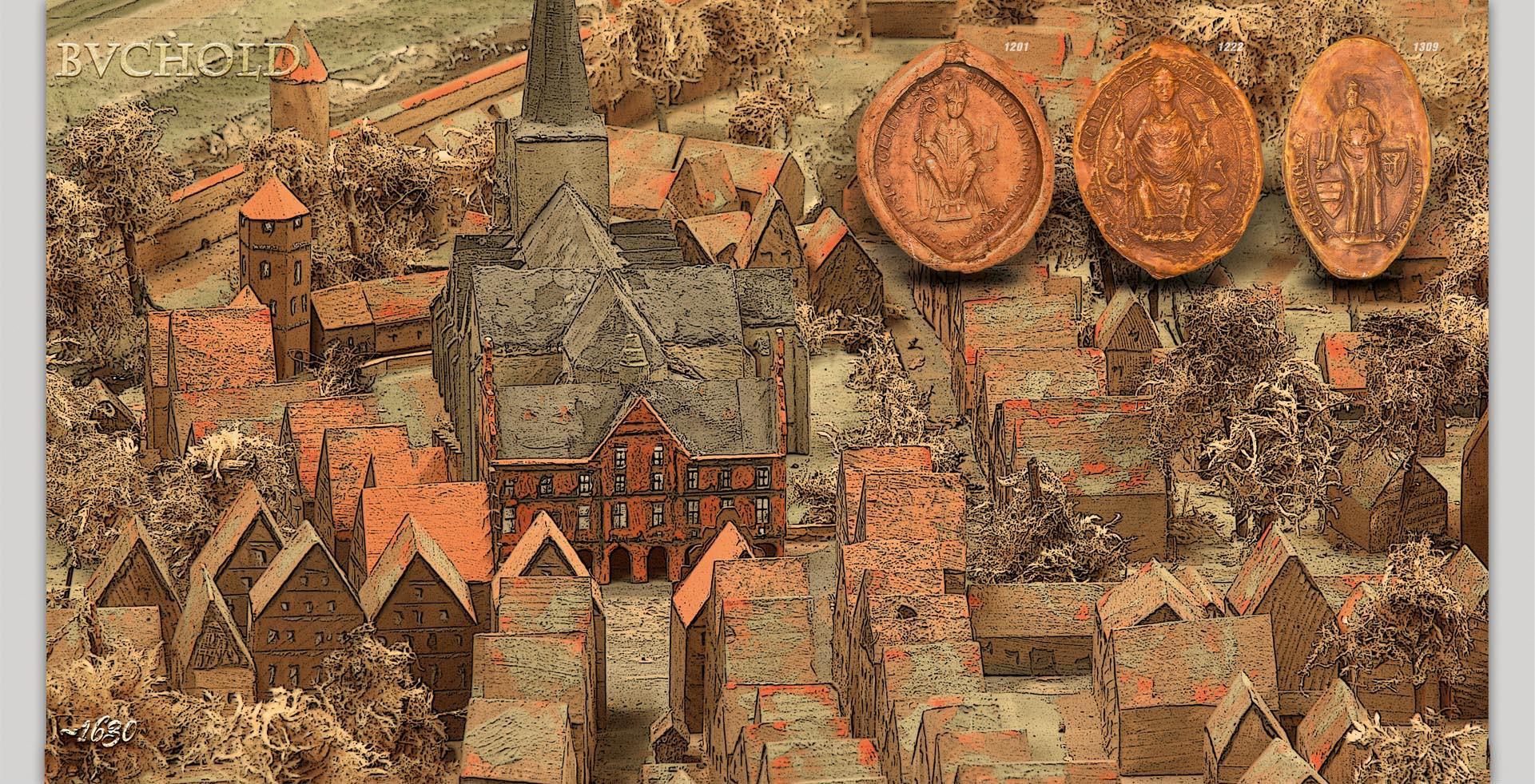 Buchold 1630 historische Stadtansicht, 46397 Bocholt, NRW, Deutschland