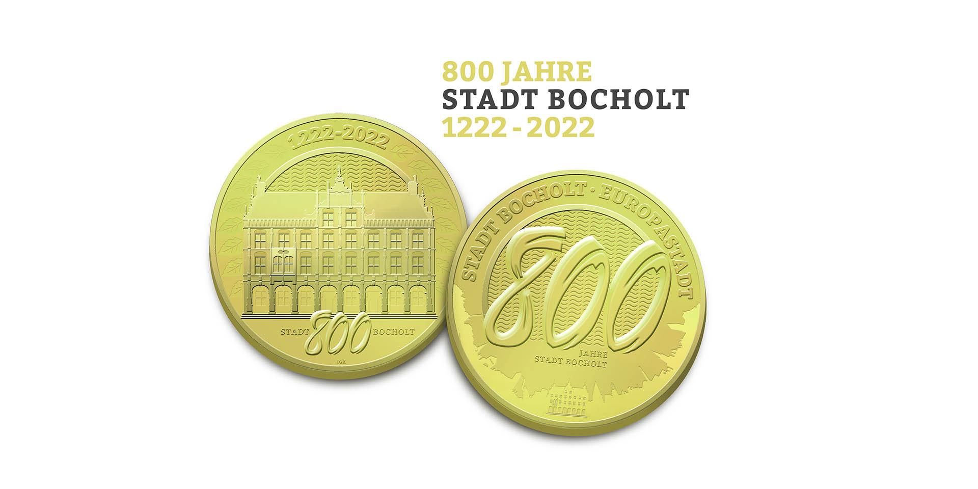 Bocholt auf Münzen zum 800-jährigen Jubiläum